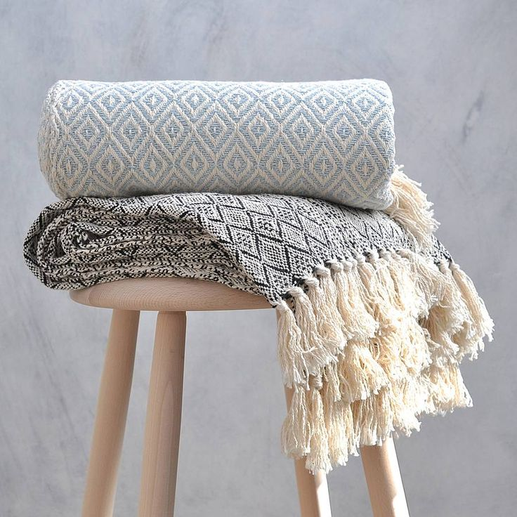 Hand woven cotton throw in diamond pattern and black or ice blue colour.