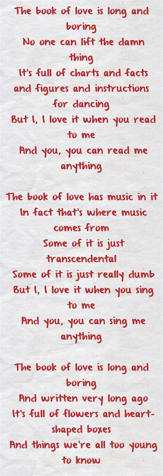 The Book Of Love by Peter Gabriel! I love this song! This is the song that we will have our first dance to.