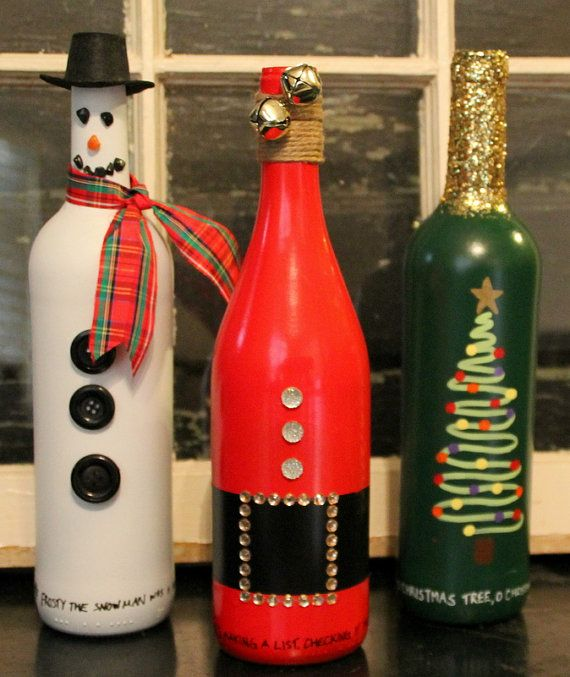 Christmas wine bottle set snowman bottle by TheAnchoredElephant
