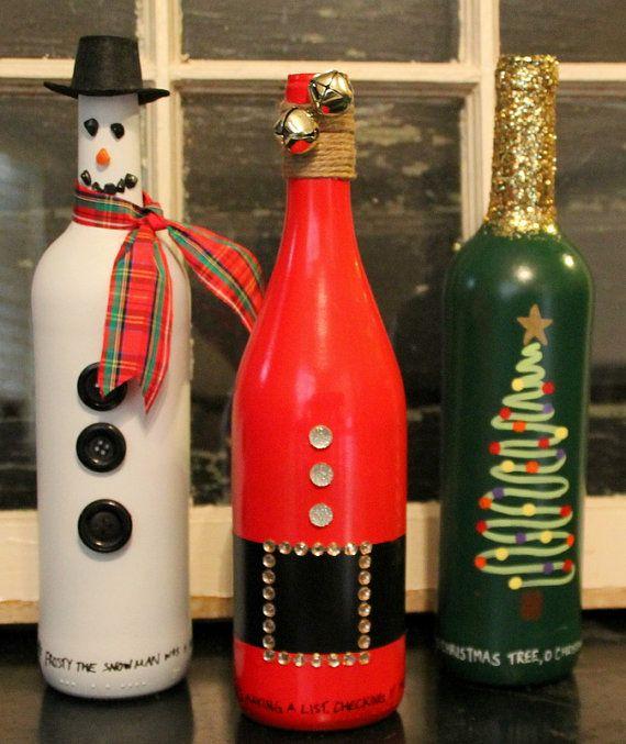 Christmas wine bottle set snowman bottle by TheAnchoredElephant