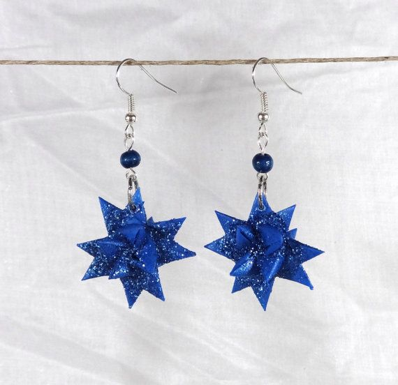 Origami Froebel Star Drop Earrings In Your Choice of Six Bright Colors
