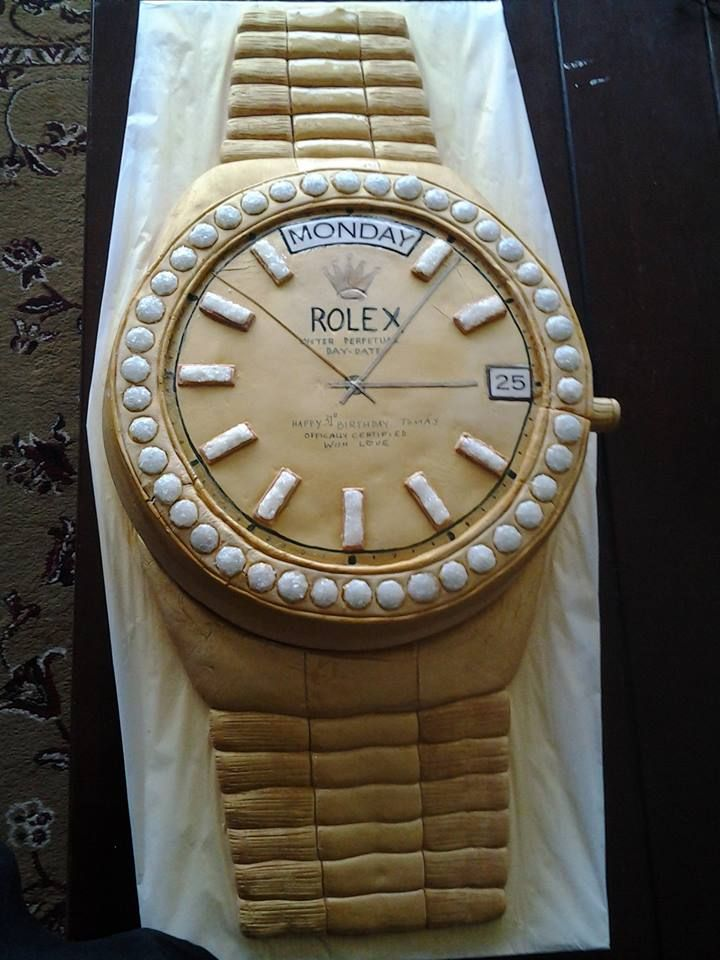 Fathers Day, Birthday, Watches - Mens Gold Rolex Watch Cake for Fathers Day, Retirement Party anything man related. For Birthday the day, date and time of birth is one of the focal points of the cake. It was 3-1/2 feet long/tall and approx 25 pounds and mighty tasty I might add!