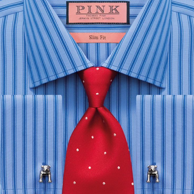 Blue striped shirt and red tie