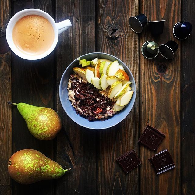Perfect breakfast ☕️ #porridge #pear #chocolate #coffee #nespresso #breakfast