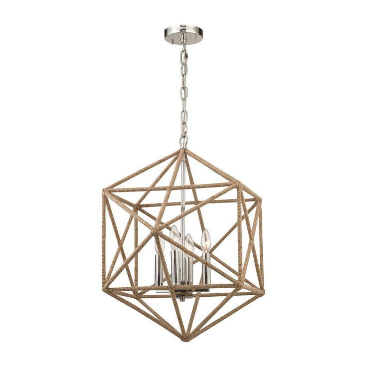 exitor 4 light chandelier in polished nickel by elk lighting