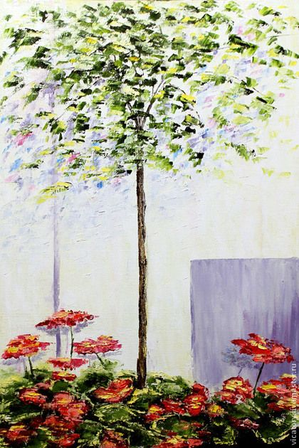 """Картина """"Южная клумба"""" Flowerbed somewhere in the south. Ficus and geranium.  by Victoria Sokolova oil, canvas, 40*60, 2014"""