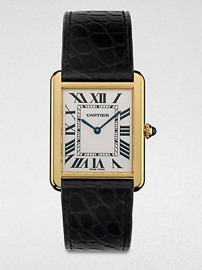 Cartier Tank Solo 18K Gold & Alligator Watch.  My all-time favourite.