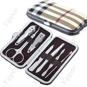 7Pcs Stainless Steel Cosmetic Pedicure Manicure Nail Tools Nail Care Clipper Set Kit – Plaid Leather Case Box  $15.99