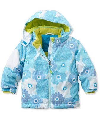 This Toddler Girls' winter jacket in 'Bluebird Floral' is warm, durable and comfortable enough for hours of playing in the snow or on the slopes.  The shell of this jacket is made of windproof and waterproof nylon.