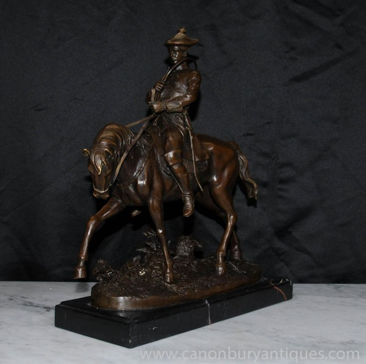 French Bronze PJ Mene Hunter Horseback Statue Figurine Signed