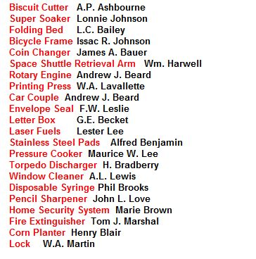 African American History Inventors List! You will be suprise at what black inventors created that we use today   Top 10 Queen Social