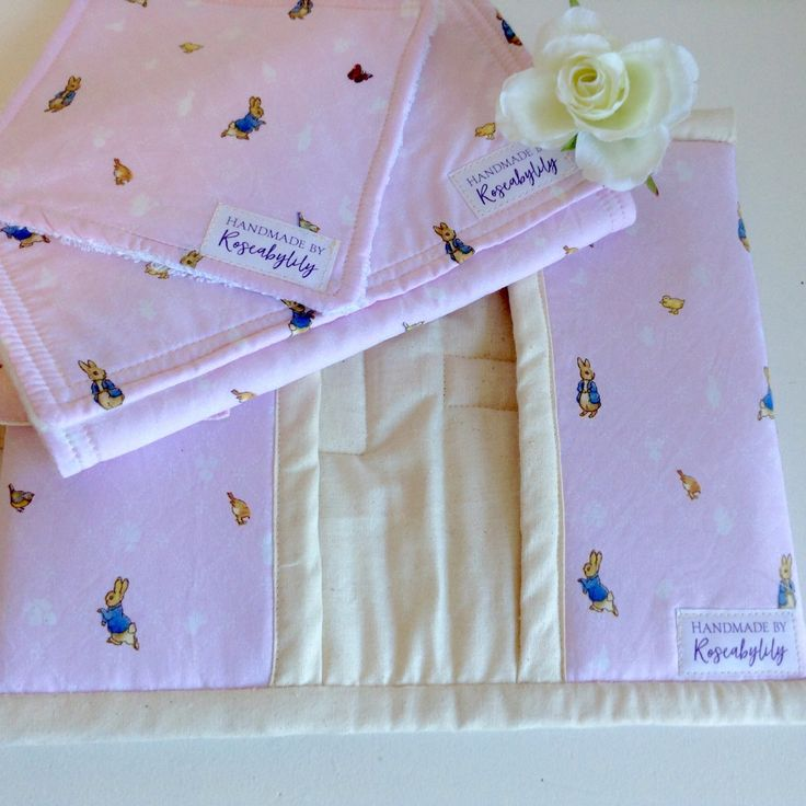 Cute little set went out today - Peter Rabbit Nappy Clutch with matching Changing Mat and Wash Cloth. I am in the middle of completing a baby blue version. Keep an eye out when listed.