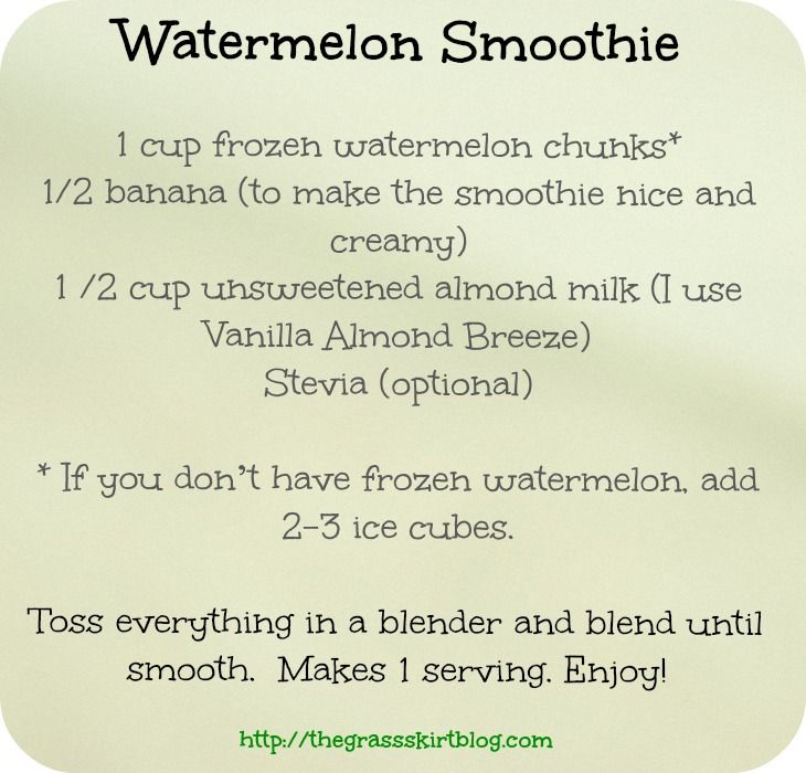 Watermelon smoothie from The Grass Skirt blog