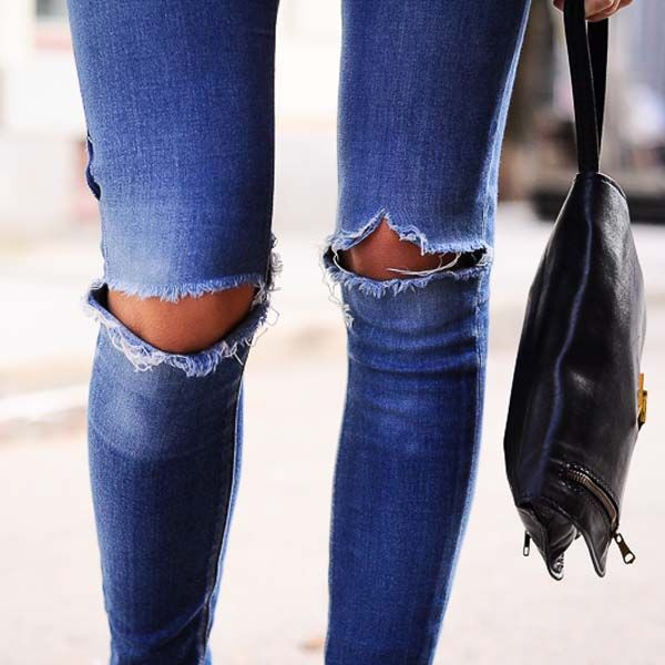 Ripped jeans at the knees