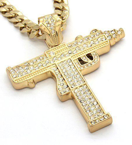 "Mens Gold Tone Iced Out Sub Gun Uzi Pendant Hip-Hop 30"" 10mm Cuban Necklace Chain, http://www.amazon.com/dp/B00NYDBUSQ/ref=cm_sw_r_pi_awdm_qfm-wb0FMCZNZ"