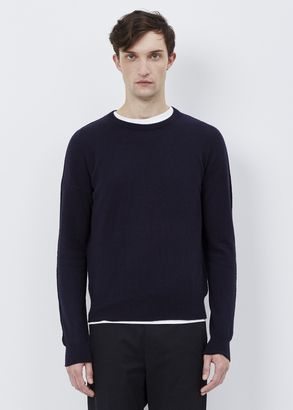 Shop Now - >  https://api.shopstyle.com/action/apiVisitRetailer?id=643878617&pid=uid6996-25233114-59 Maison Margiela dark blue integral jersey crew neck sweater  ...