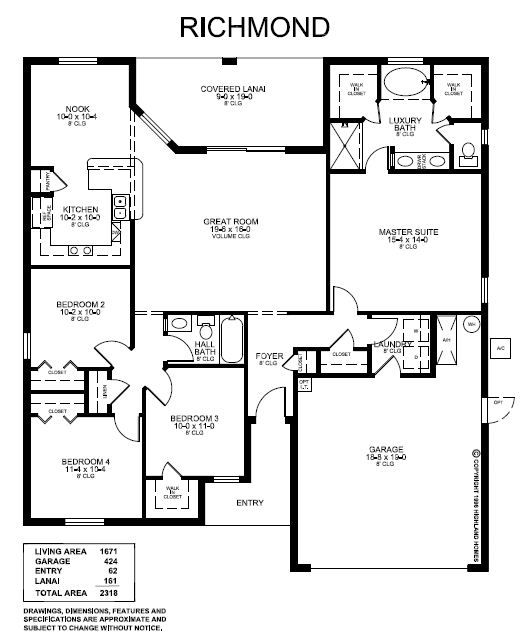 The open 1671 sq ft richmond floor plan features an for Florida house plans with lanai