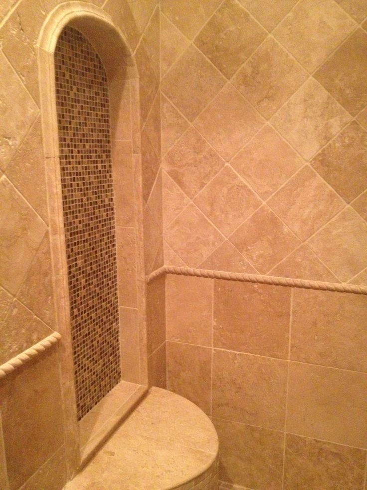 Custom travertine shower bench with arched niche and rope for Travertine tile designs