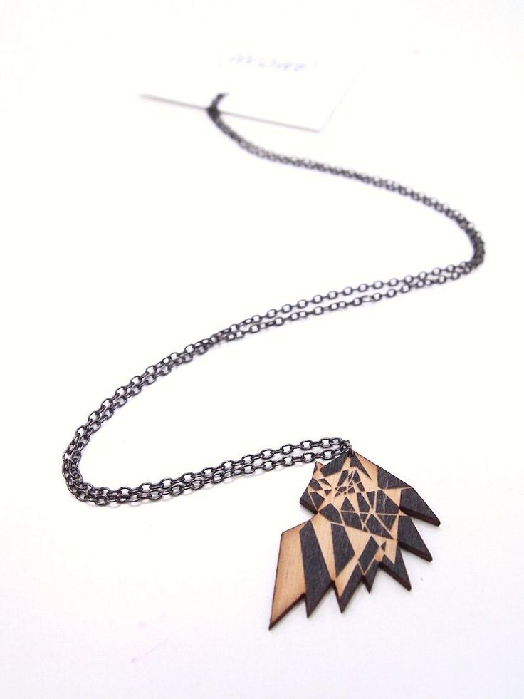 Mori Bird Neclace - Black/Wood by MORI COLLECTIVE. Lasercut - Made In Finland.