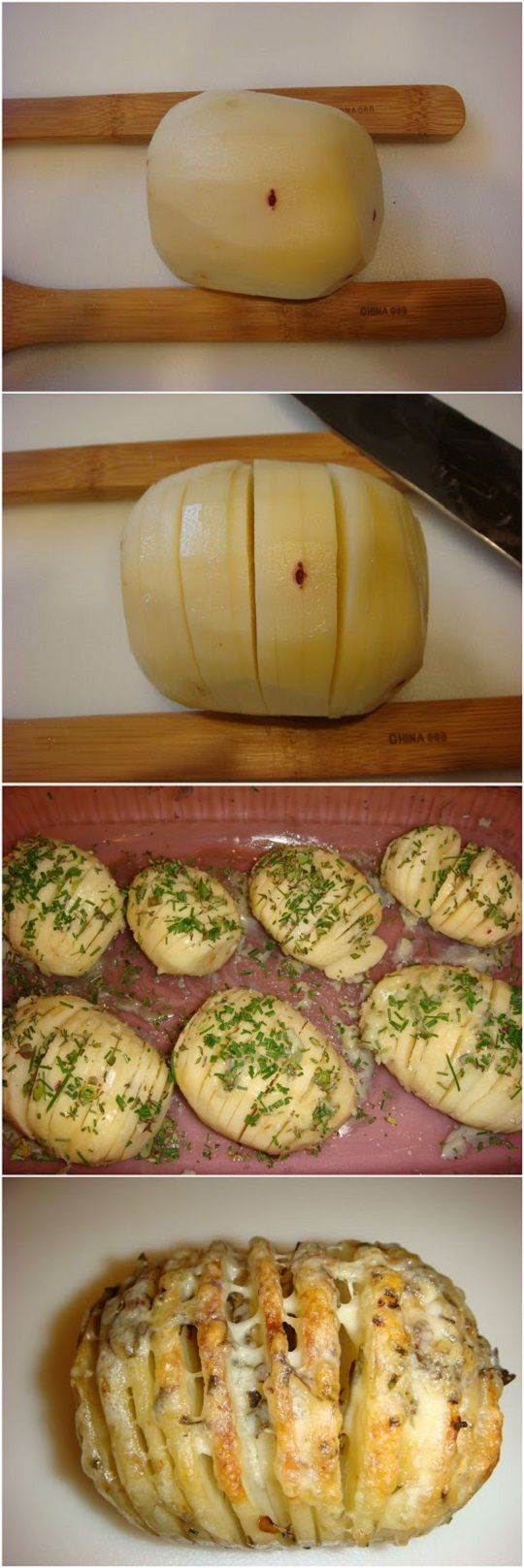 Sliced, Baked Potatoes w/ Herbs & Cheese- 40 minutes and then another 10 with the cheese on top and the potatoes a little crunchy