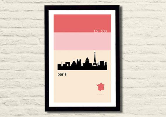 París Poster Art Print 11 X 17 horizonte de la ciudad, minimalista, rosa la impresión será rodada en papel kraft y encerrada en un tubo de