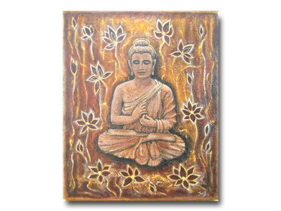 Original Buddha Painting on 20 x 24 Canvas Abstract Buddha by