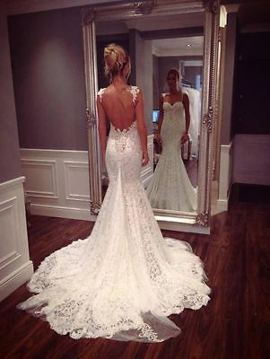 Sexy Backless Lace Mermaid Wedding Dress Bridal Gown Custom Size 6 8 10 12 14 16