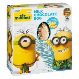 Minions milk chocolate hollow egg, with candy coated marshmallows. 70g…