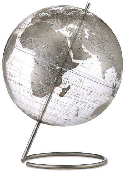 Mid Century Modern Style Transparent Silver World Globe 12"