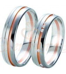 Βέρες γάμου τρίχρωμες με διαμάντι Breuning 6333-6334