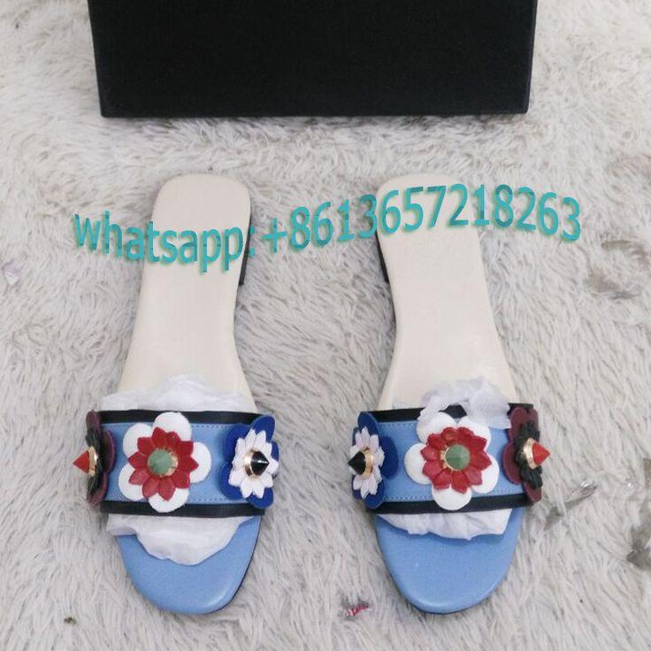 2017 Rousmery Genuine Leather Slippers Summer Rivet Flower Sandals Designer Flip Flops Women Flat Sandals Blue Fashion Slides