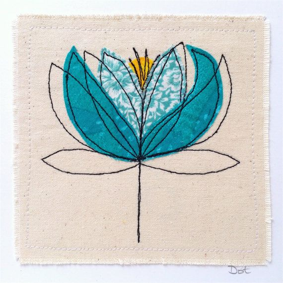 Water Lily greeting card personalised textile art embroidery