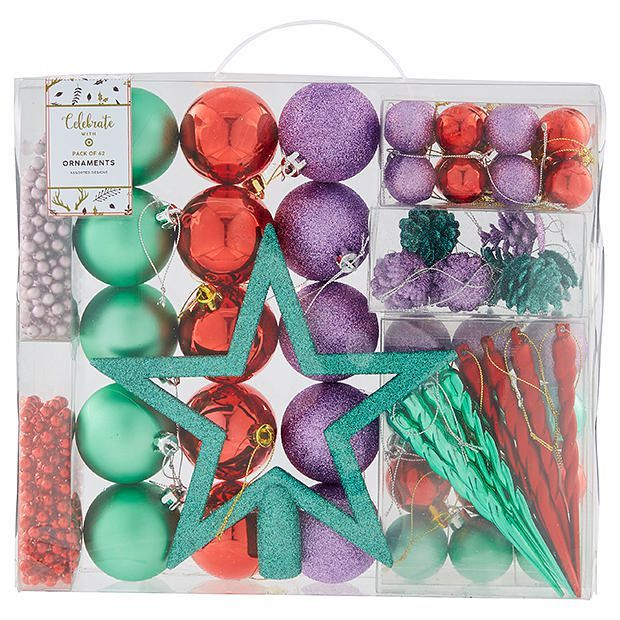 62 Pack Assorted Design Christmas Ornaments