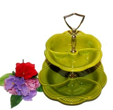 green two tiered tidbit tray with bowls california pottery lazy
