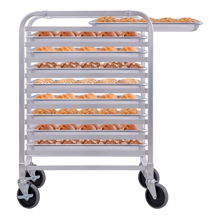 10 Sheet Aluminum Bakery Rack Rolling Commercial Cookie
