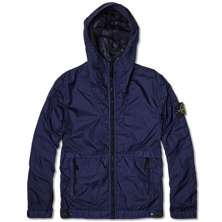 Stone Island Membrana TC Garment Dyed Hooded Jacket (Mid Blue)