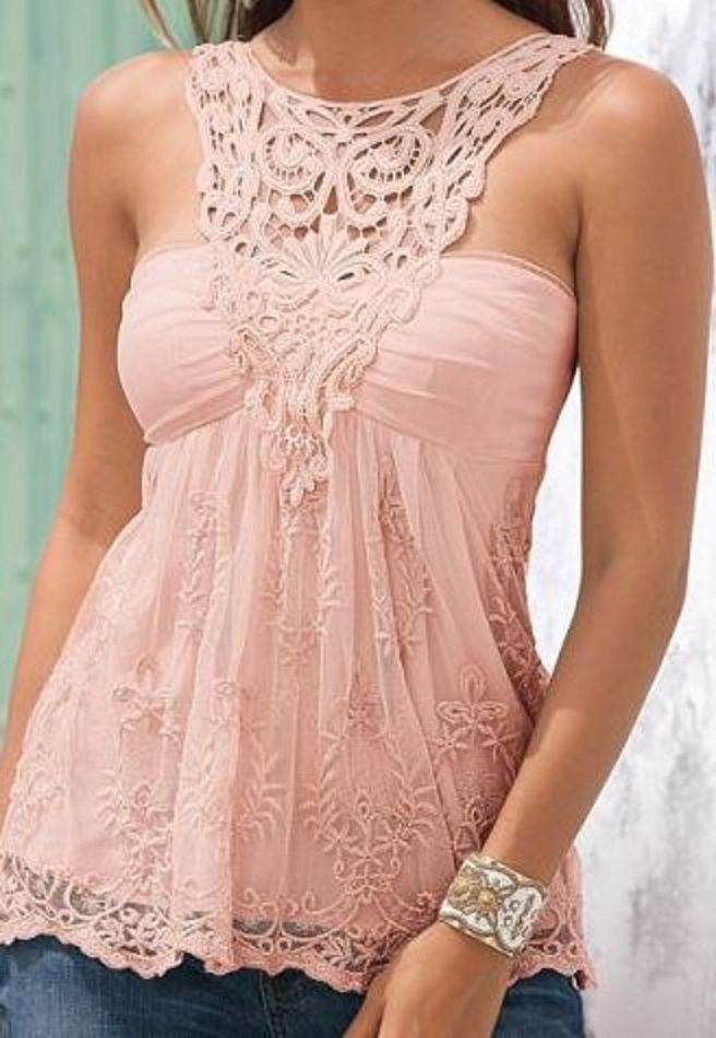 Love this Shade of Pink! Pretty Pink Scoop Neck Lace Splicing Backless Tank Top #Pink #Lace #Summer #Tank #Top #Fashion