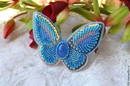 """Брошь-бабочка вышитая бисером """"Аврора"""" - голубой,брошь,брошка,бабочка"""