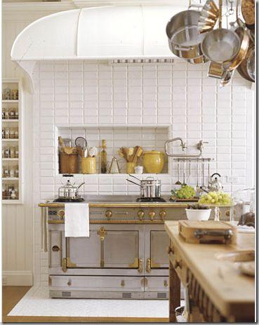 La CornueThe Cornue, Dreams Kitchens, Kitchens Pictures, Subway Tile, Stoves, Lacornue, French Kitchens, Stainless Steel, White Kitchens