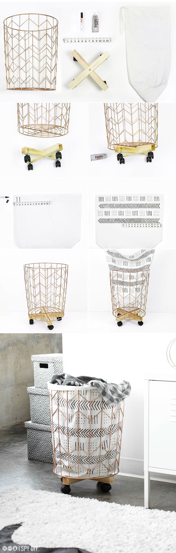 » MY DIY | Mudcloth Print Cotton Canvas & Wire Hamper