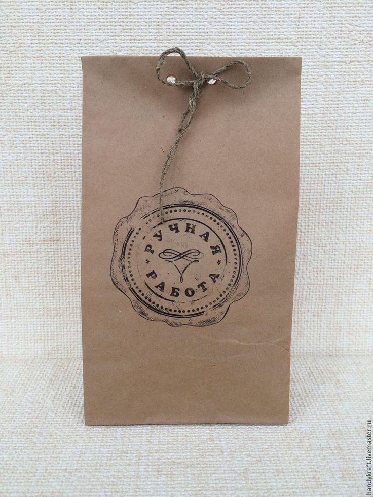 Купить Крафт-пакет с рисунком 12х24 см - коричневый, бумажный пакет, пакет для…