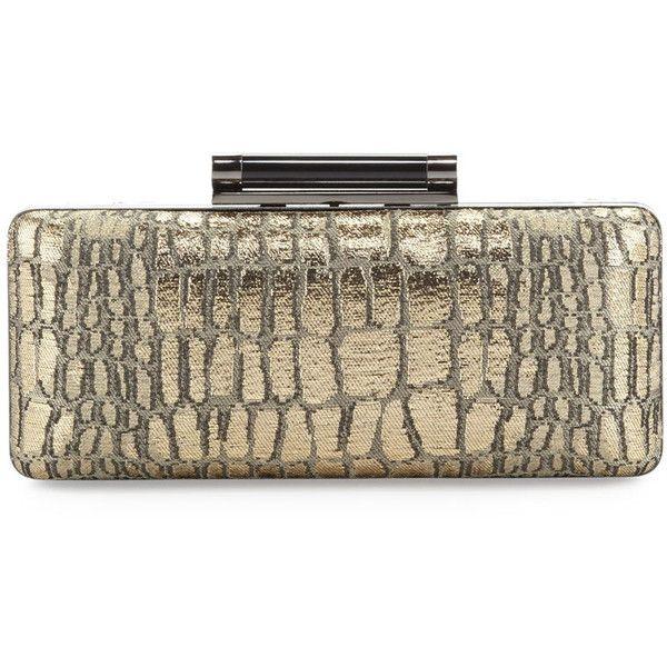 Shop Diane Von Furstenberg Women's Tonda Crocodile-jacquard Metallic Clutch Bag, Gold at Modalist