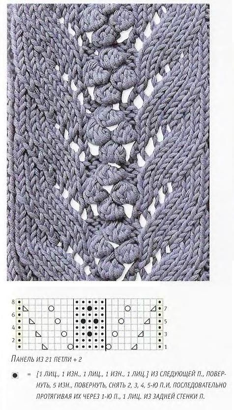 Knitting Chart No Stitch : Russian site with many knitting charts that need no
