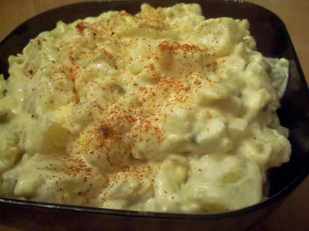 Creamy Potato Salad from Food.com:   								I have combined a couple of my favorite potato salad recipes to come up with this one. I use it for all the holidays.