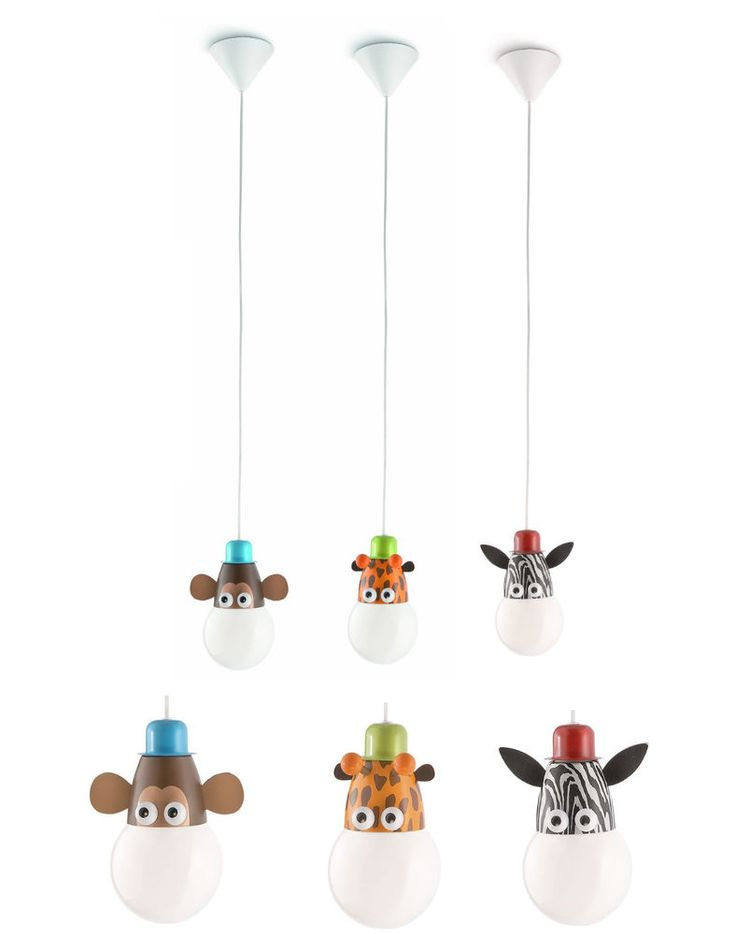 Animal Characters Low Energy Pendant Kids Childrens Bedroom Light Fitting