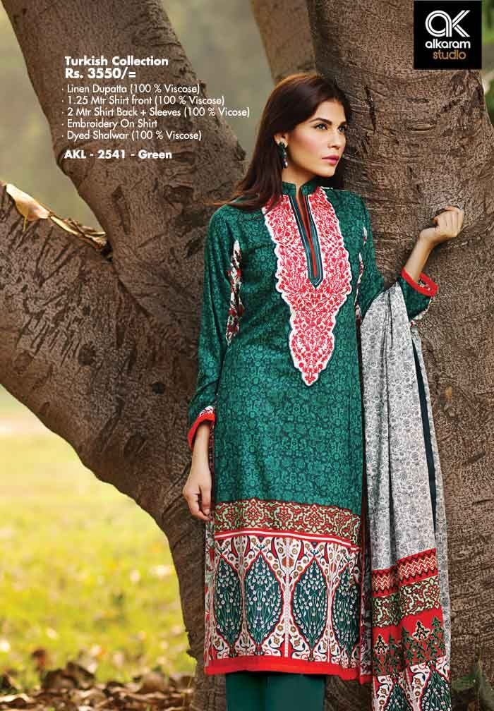 AKL 2541 - Green Rs. 3550/- Linen Dupatta (100 % Viscose) 1.25 Mtr Shirt front (100 % Viscose) 2 Mtr Shirt Back + Sleeves (100 % Viscose) Embroidery On Shirt Dyed Shalwar (100 % Viscose)  www.alkaramstudio.com