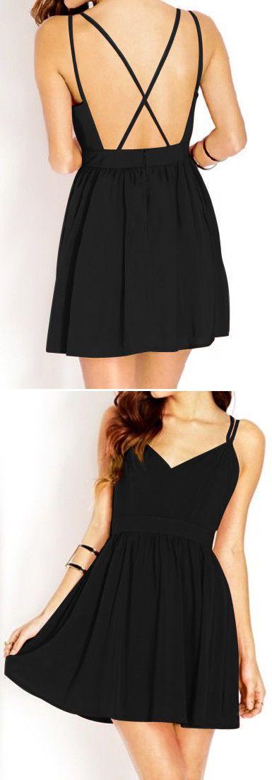 Black X Back Dress