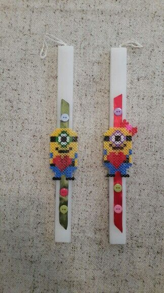 """Handmade easter candles by Glykeria. """"Minions"""""""