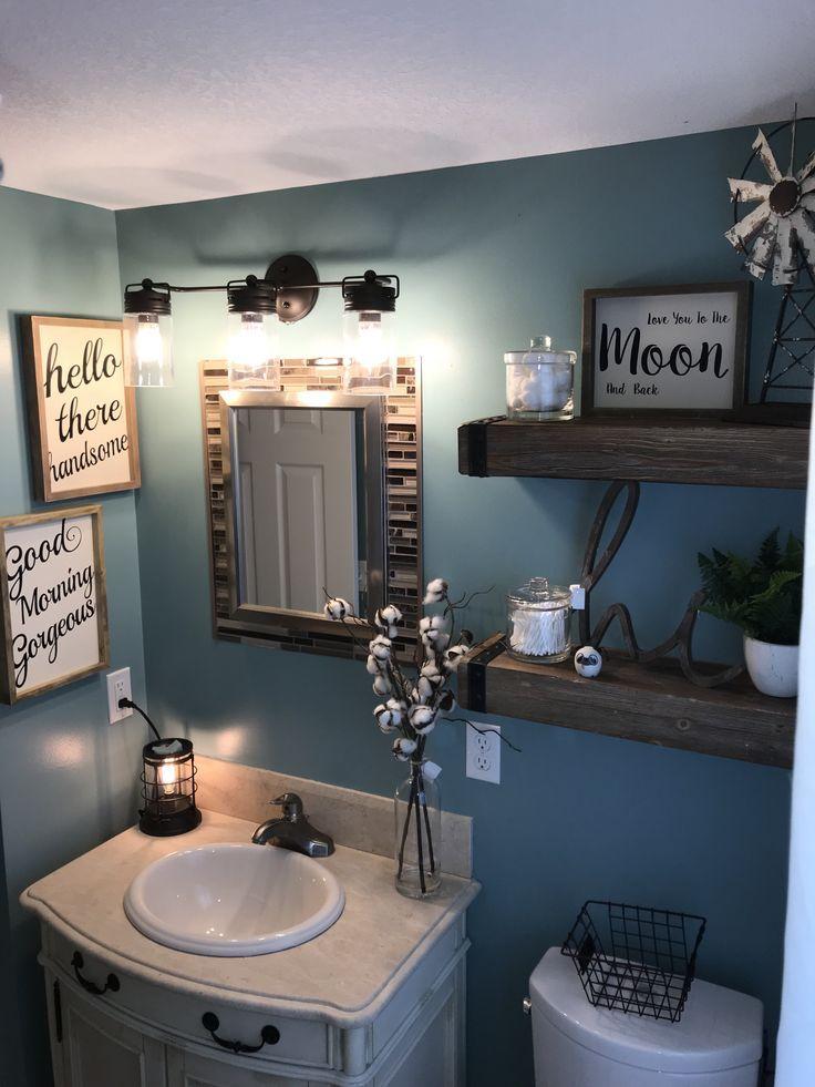 Farmhouse Bathroom Blue Bathroom Ideas Bathroom Paint Colors Ideas Bathroom Color Schem Small Bathroom Decor Bathroom Decor Farmhouse Bathroom Decor