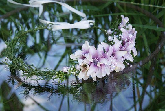 flower crown floral crown pink lilies wedding flower by mamwene